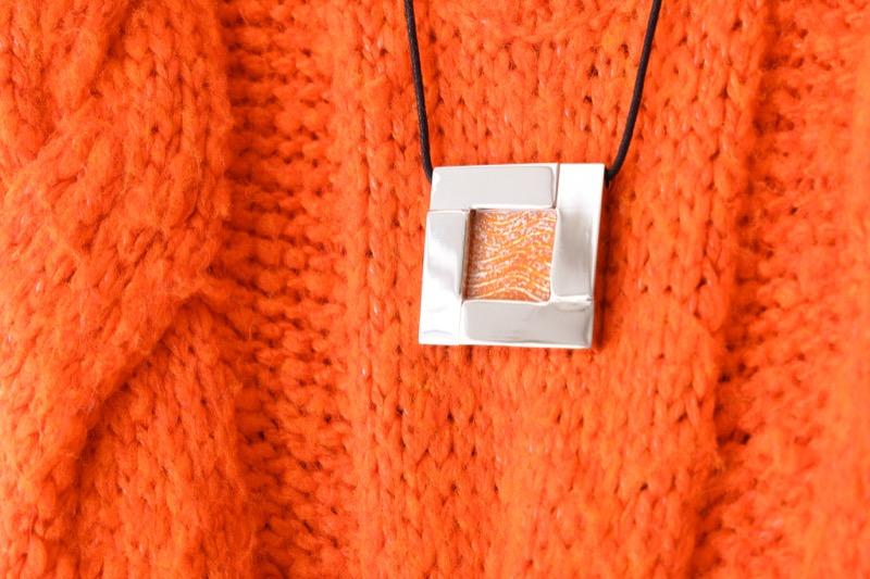 collar_acero_cristal_cuadrado_naranja_seyart_6
