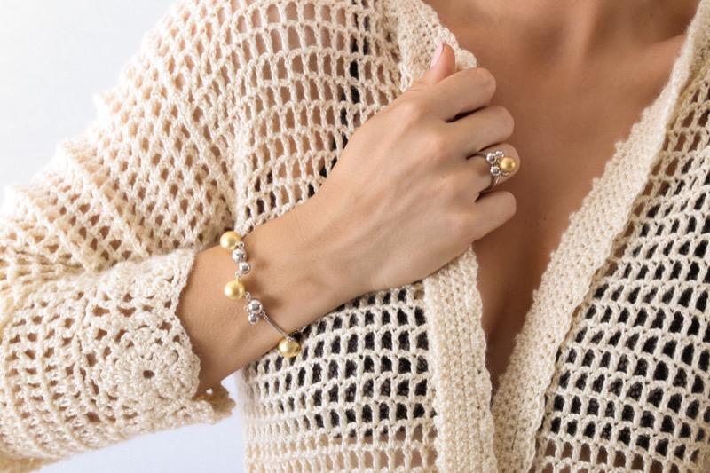 pulsera_plata de ley_champan_plata dorada_bolas_seyart_3