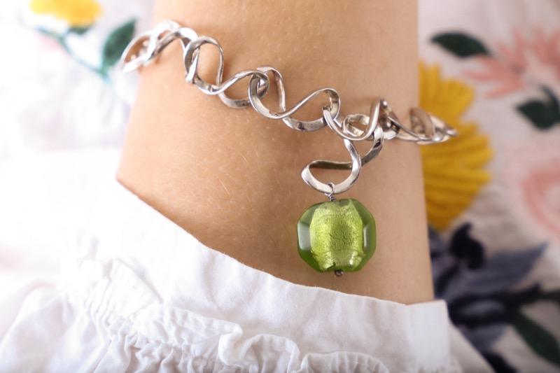 pulsera_plata de ley_cristal de murano_verde_seyart_4